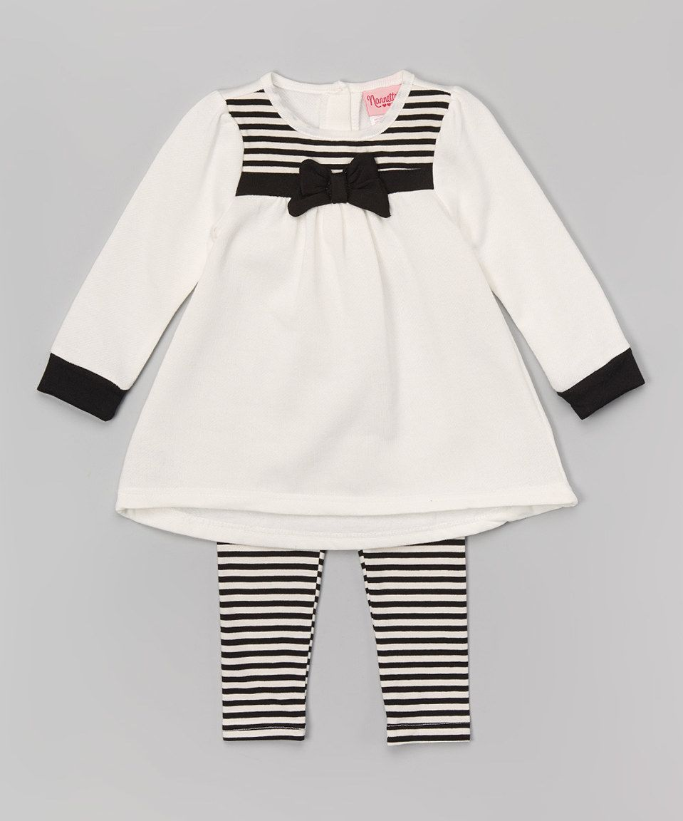 Love this White & Black Stripe Bow Tunic & Leggings - Infant & Toddler by Nannette Girl on #zulily! #zulilyfinds