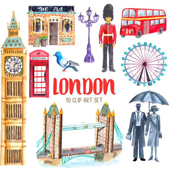 london watercolor clip art illustration scrapbooking greeting