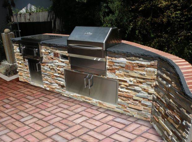 Beautifully Hard Scaled Bbq Island With Memphis Wood Pellet Grill The Makings Of A Great Outdoor Kitc Pellet Bbq Grills Outdoor Living Kitchen Outdoor Kitchen