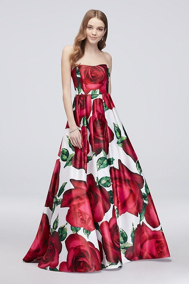 Floral Print Strapless Lace-Up Satin Ball Gown | David\'s Bridal ...