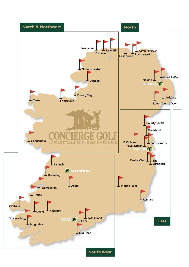 Map Of Ireland Golf Courses : ireland, courses, Ireland,, Ireland, Courses,