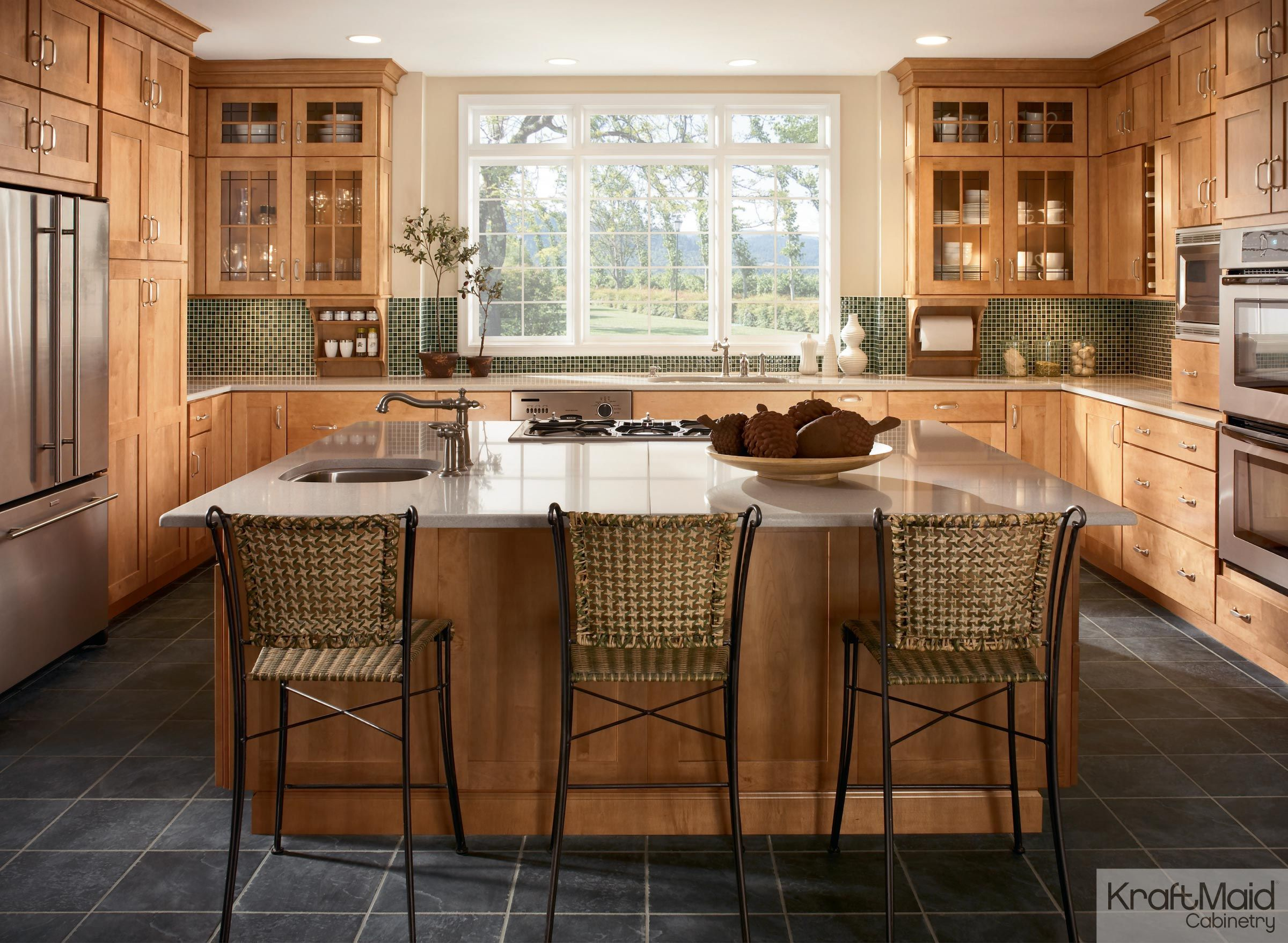 This Modern Kitchen Has A Large Island That Begs For Company Kraftmaid Kitchen Cabinets Kitchen Cabinet Design Kraftmaid Kitchens