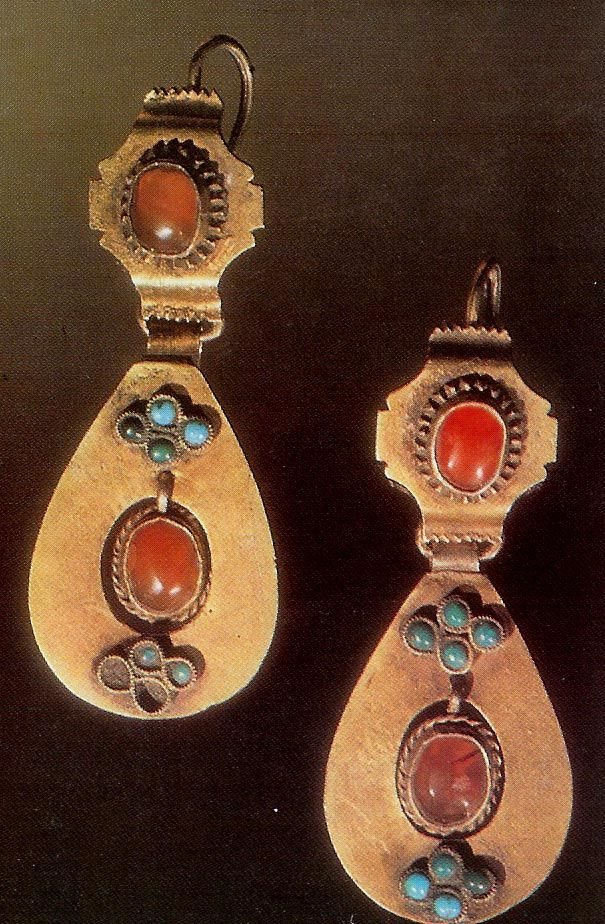 Silver and carnelian earrings Tartar 19th c ottoman empire