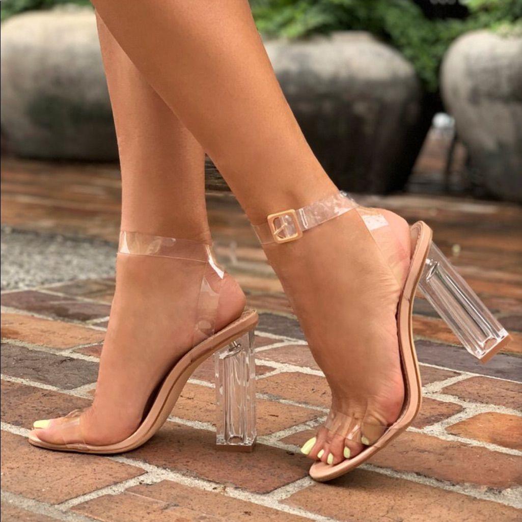 Fashion Nova Shoes | Fashion Nova Maria Clear Heels Size 7