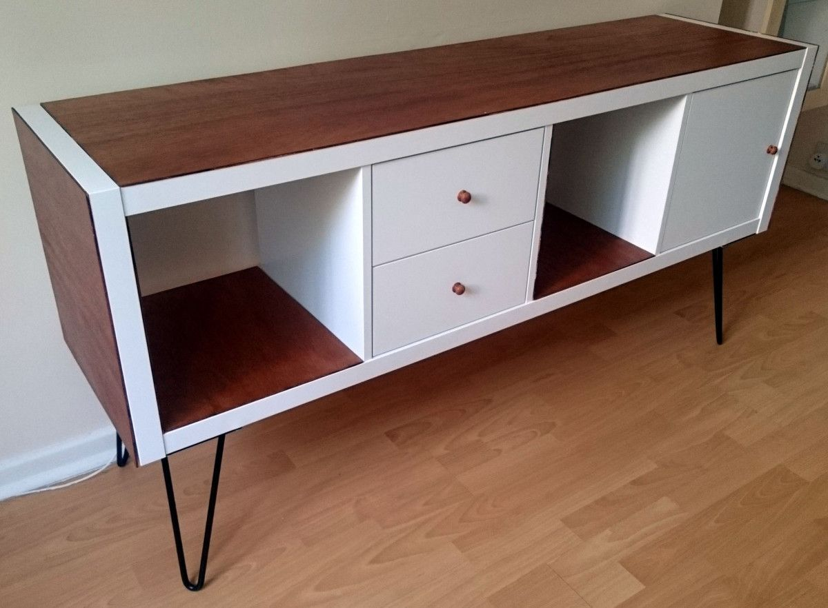 Ikea kallax hack  IKEA Kallax sideboard hack | 50s furniture and Ikea hack