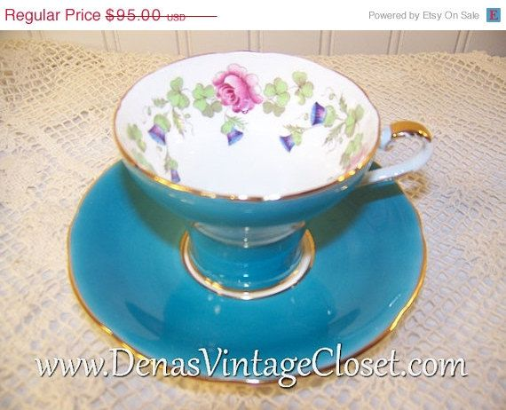 NEW YEARS SALE Vintage Aynsley Bone China Teacup and Saucer Set Blue Floral Design Gold Trim