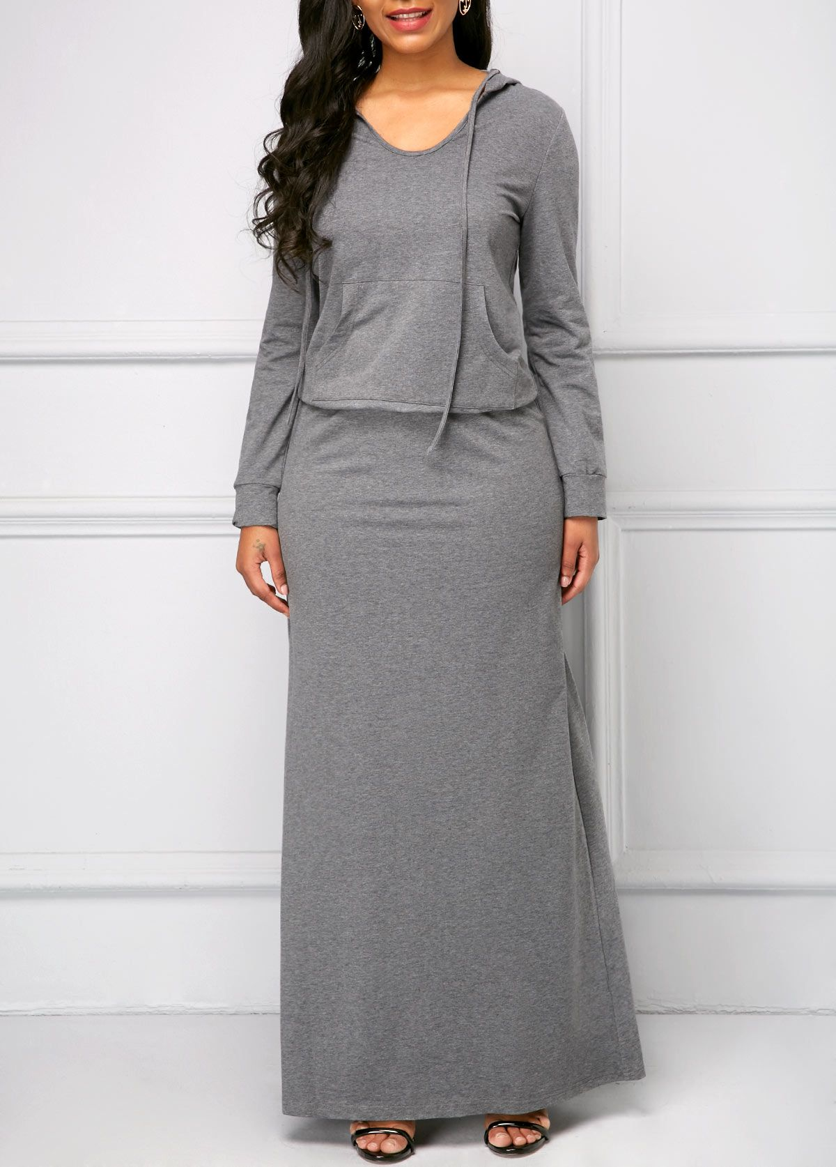grey v neck long sleeve maxi dress | modlily - usd