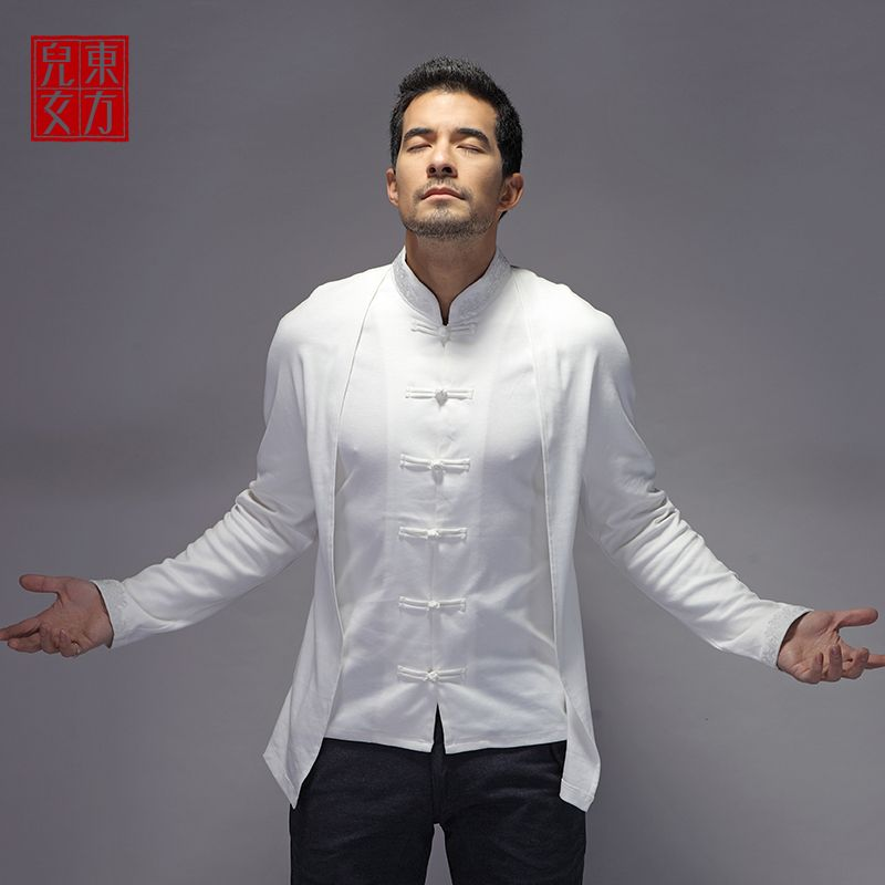d92c1851445 Fantastic Oriental Style Frog Button Blouse - Creamy White - Chinese Shirts  & Blouses - Men