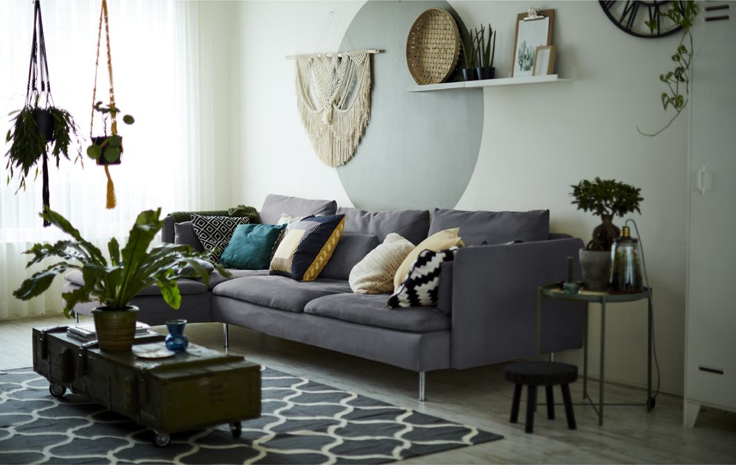 A Living Room With Gray Sofa And Indoor Plants Ikea