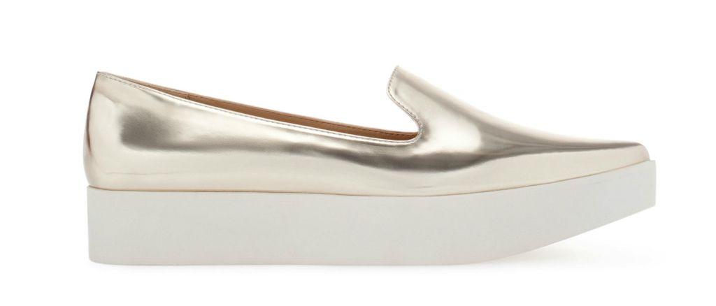 Found: A Pair of Pointy Metallic Flatforms | StyleCaster on zara..