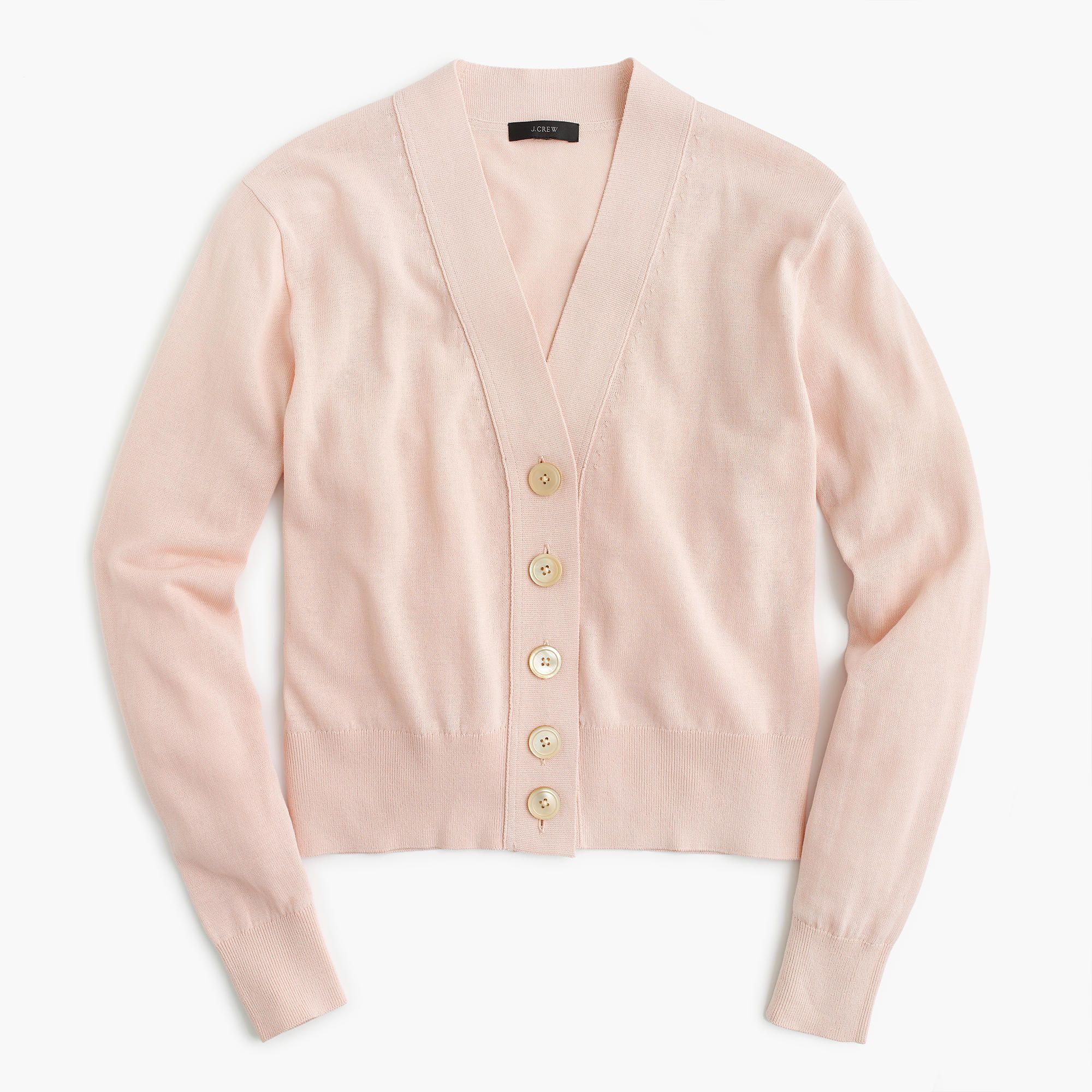 Cropped lightweight cardigan sweater in shell pink | J. Crew ...