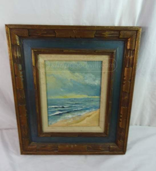 shopgoodwill.com: Vintage Seagulls On The Beach Painting,Wood Frame ...