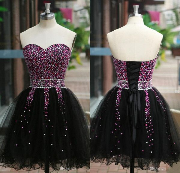 Puffy Short Homecoming Dresses Under 100 Black Cheap Prom Party Gowns Sweetheart…