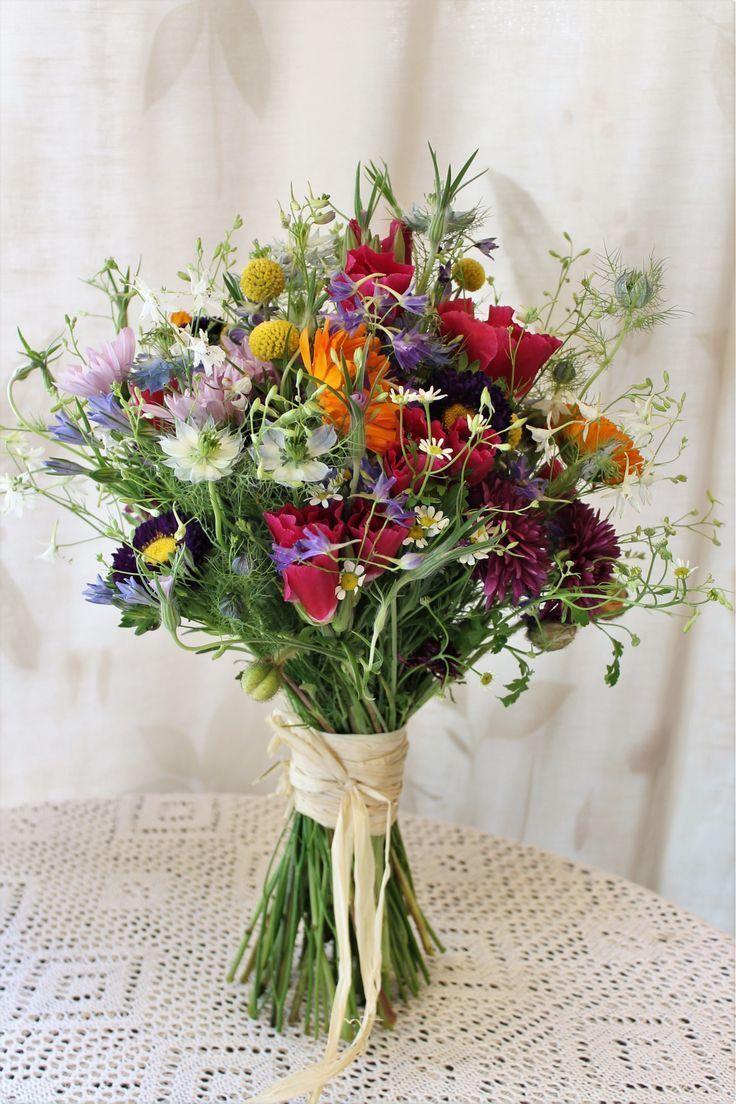 Wildblumenstrauss / Wildflower bridal bouquet - #bouquet #Bridal #mariage #Wildb ... #flowerbouquetwedding