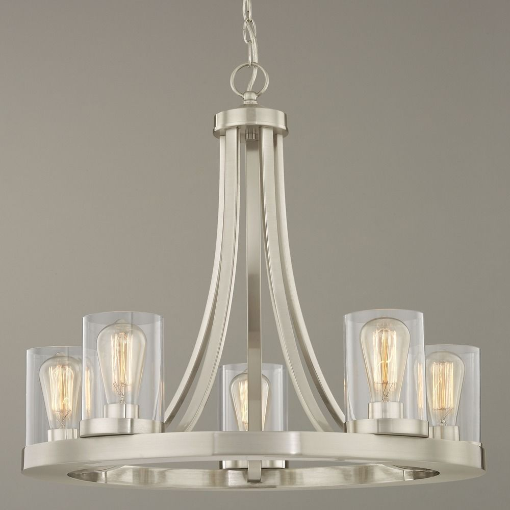Industrial Chandelier Satin Nickel With Clear Glass 5 Light