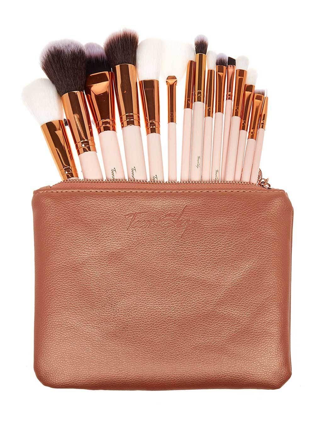 Luxus Roségold Make-up Pinsel Set und Tasche – Roségold