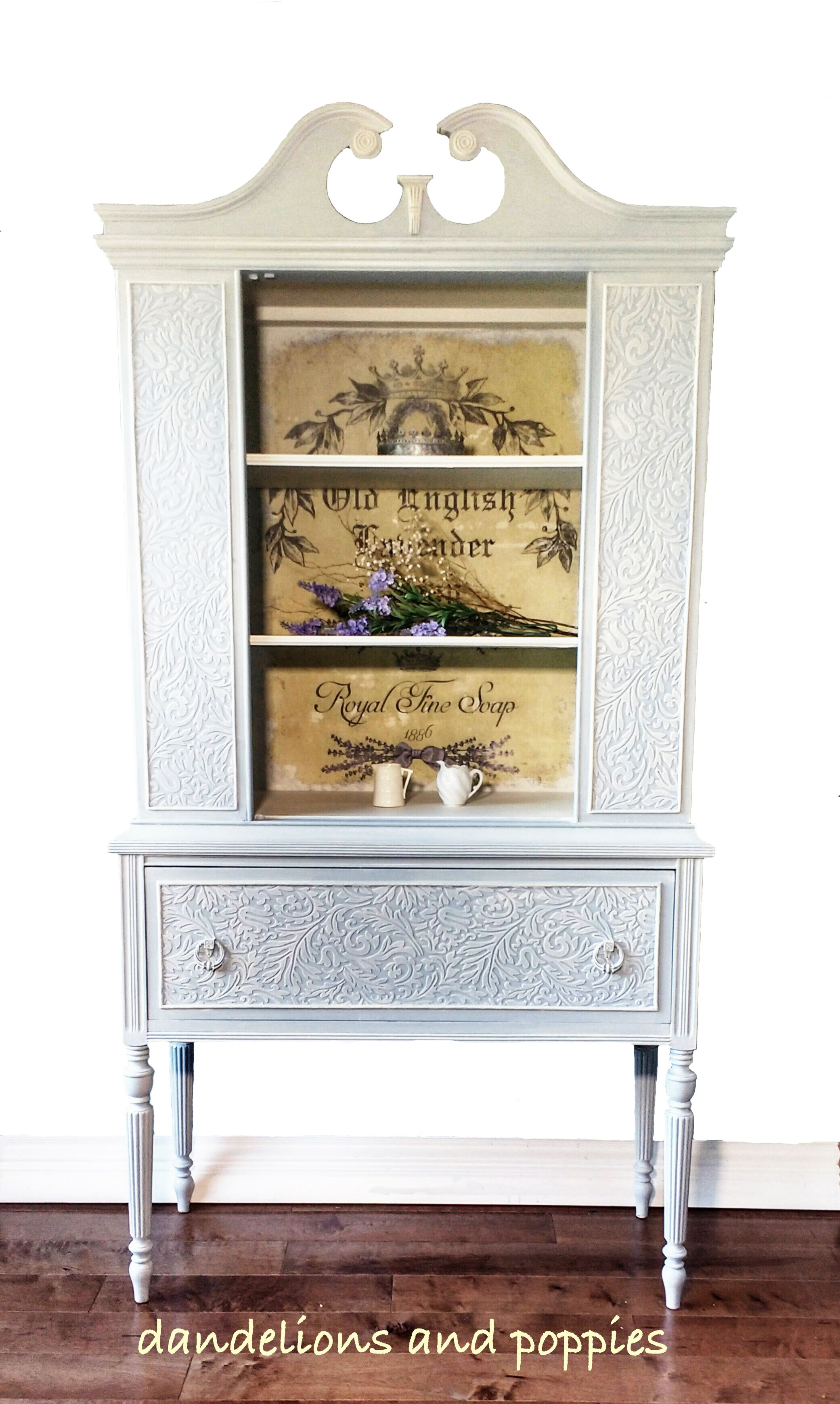 Beautiful hand painted china cabinet in soft blue with lime wash ...