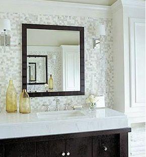 Tile Behind Vanity Grey Glass Tiles Decor Home Decor