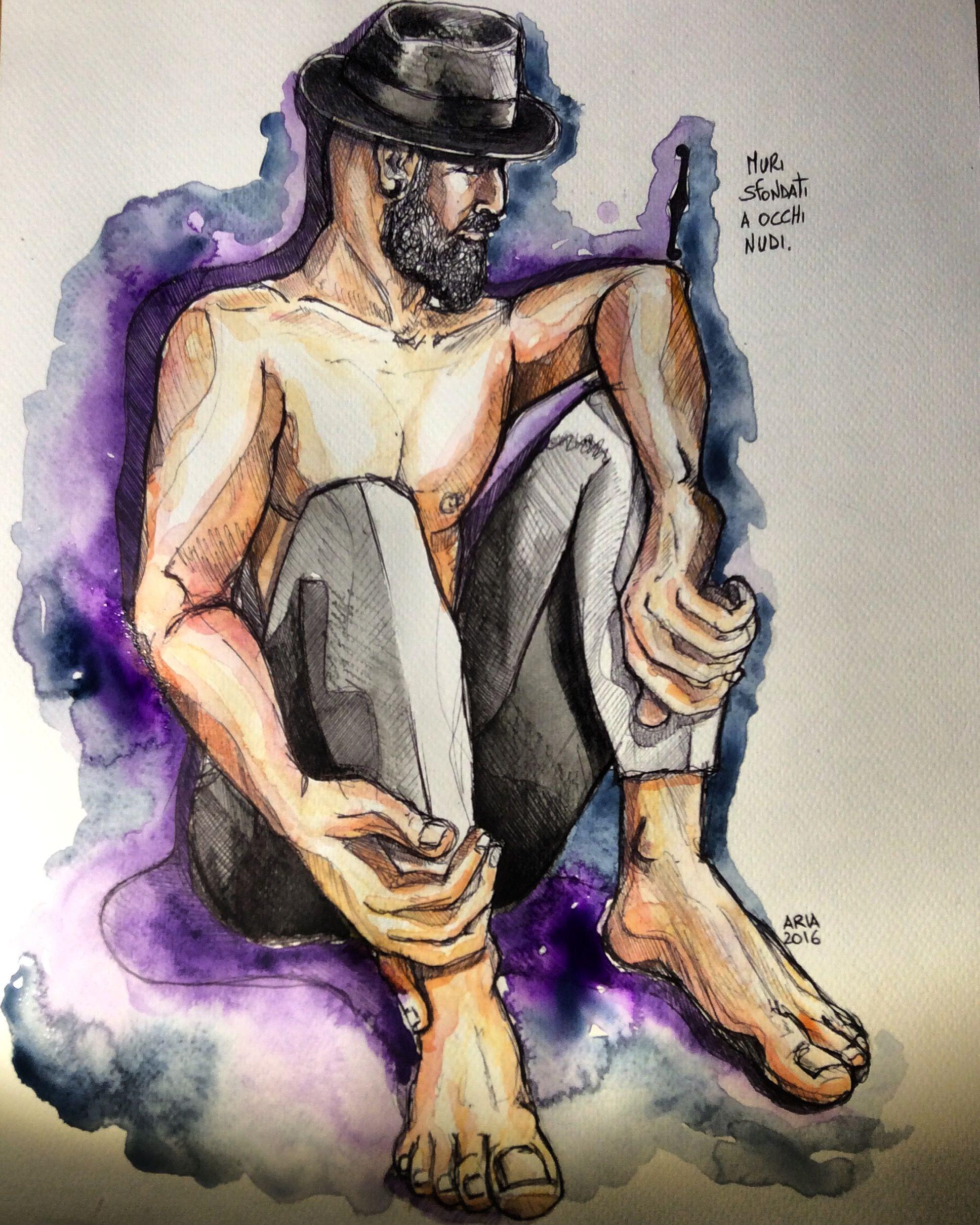 illustrazioni sketch barba cappelli watercolor blackink paint art