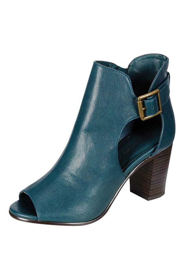 BUCKLE TRIM ANKLE BOOTS-Teal