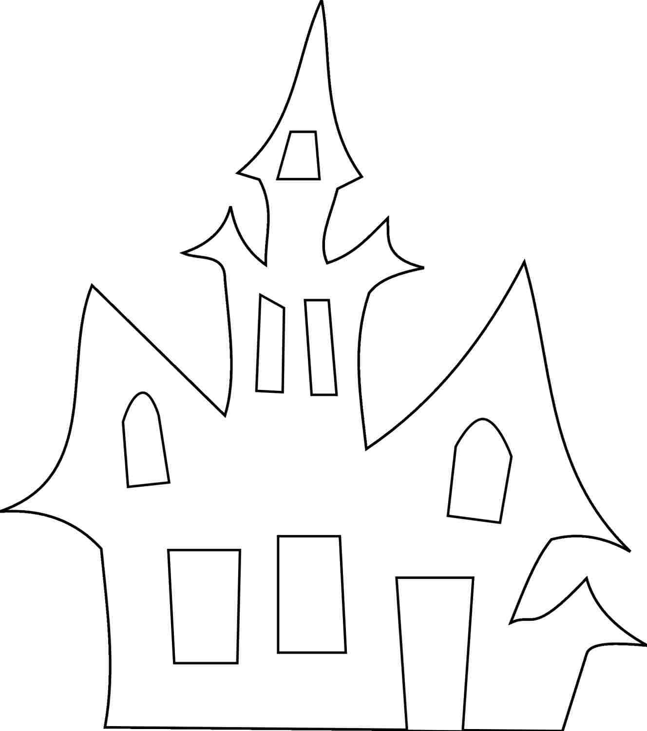 Halloween haunted house coloring pages printables 279441 outlines 3