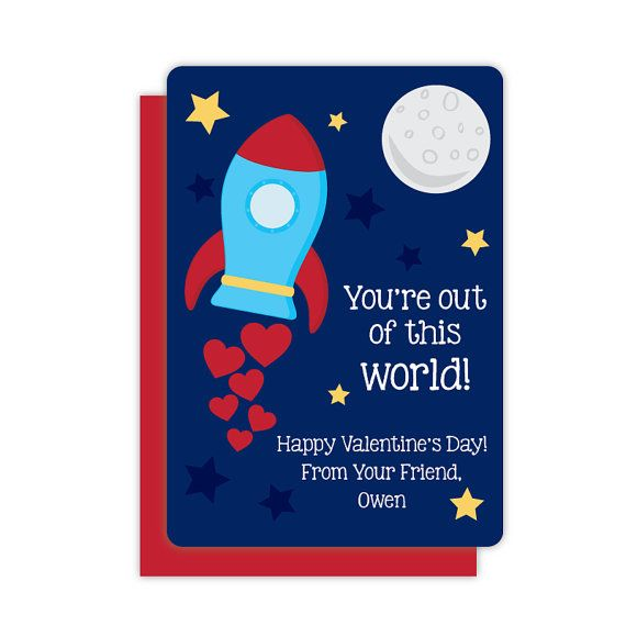 Spaceship Classroom Valentines Personalized Valentines Cards For