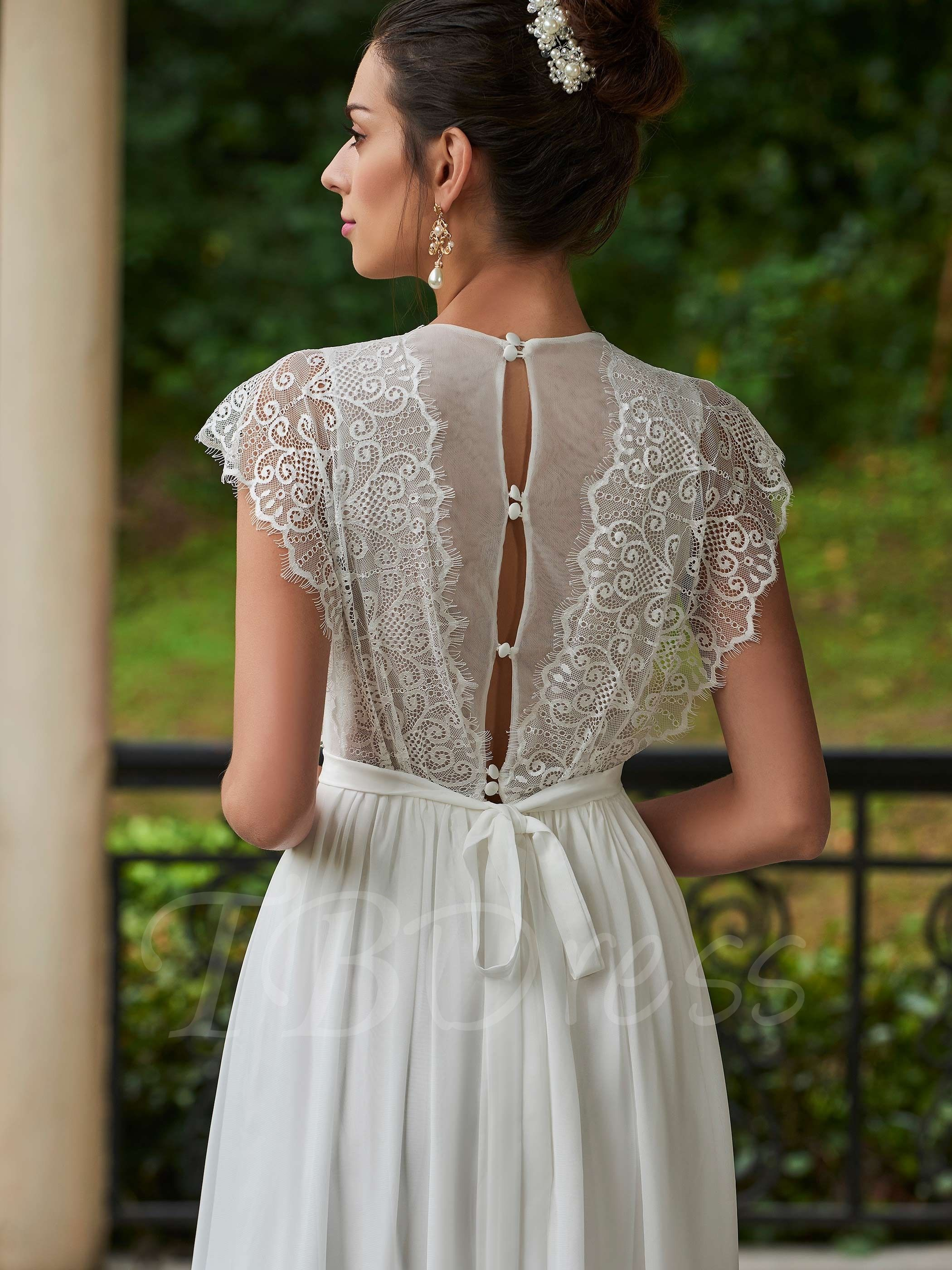 A line cap sleeve wedding dress  VNeck ALine Wedding Dress With Cap Sleeves  Wedding Dresses