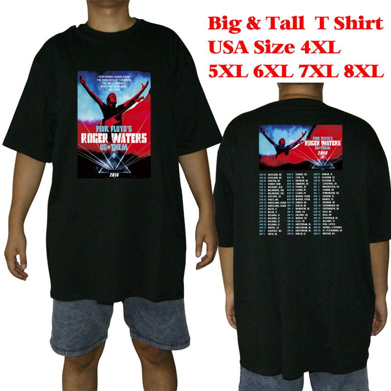 d18c56fb785 Big and tall T Shirt men two sides Roger Waters Rock Band Concert Tour 2018 tee  big size USA size 4XL 5XL 6XL 7XL 8XL