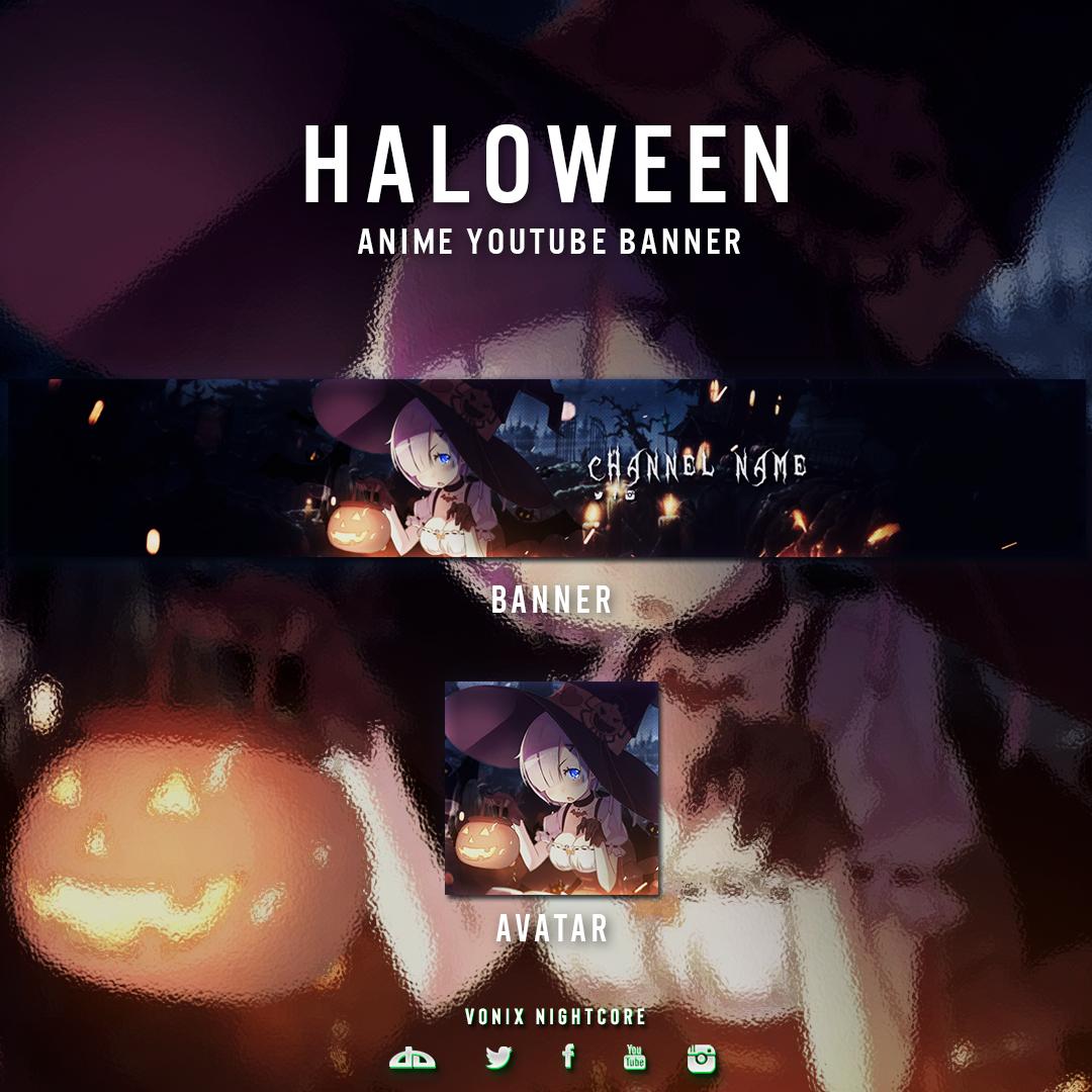 Free Anime youtube banner Halloween Theme