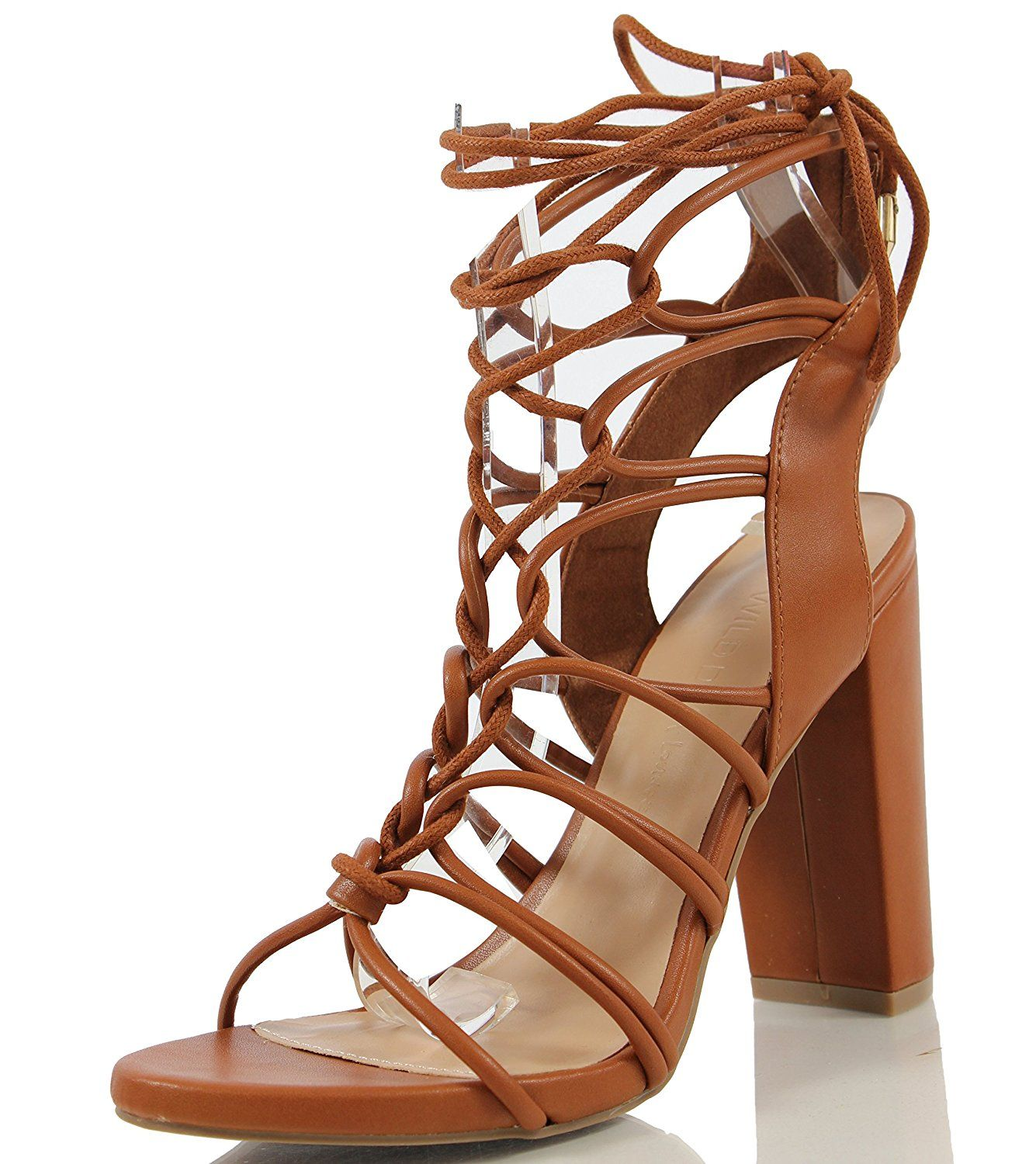 0db183cd4ec3db Wild Diva Women s Morris 11 Open Toe Gladiator Strappy Cage Lace Up Ankle  Tie Chunky Heel     Tried it! Love it! Click the image.   Gladiator sandals