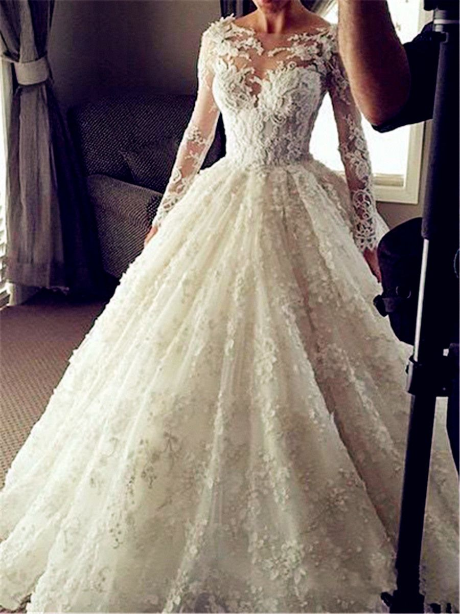 Sheer Bateau Neck Lace Long Sleeve Wedding Dress Wedding Gowns Lace Long Sleeve Wedding Gowns Wedding Dress Long Sleeve [ 1200 x 900 Pixel ]