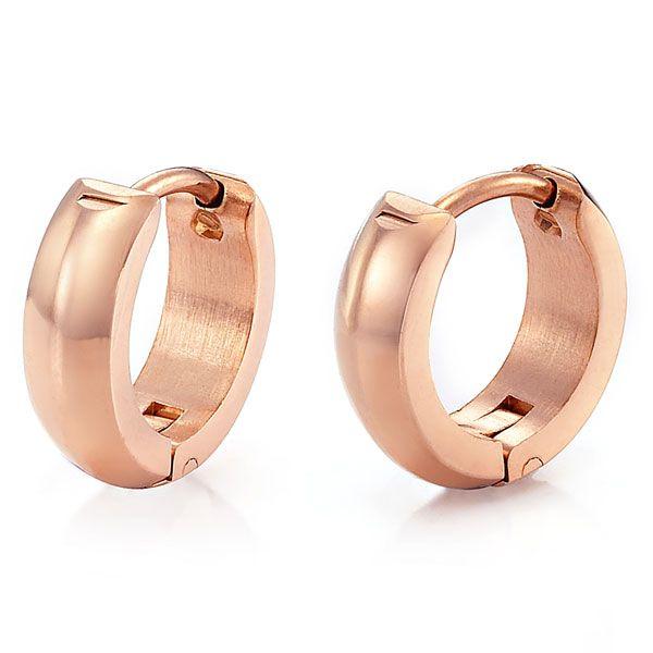 Unique Mens Rnb Stainless Steel Rose Gold Hoop Earrings Rnbjewellery