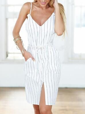 White Spaghetti Strap Striped Split Dress With Drawstring