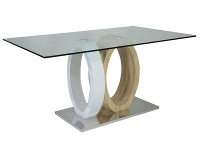 TABLE \u0027\u0027RING\u0027\u0027 - plateau en verre, décor Sonoma et laqué blanc