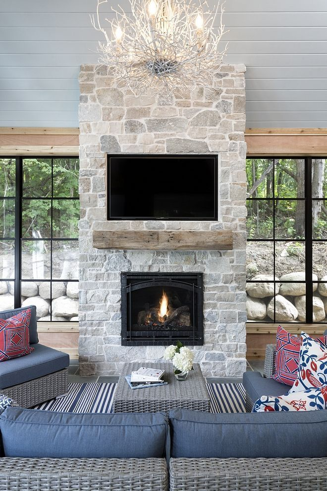 Screened In Porch Stone Fireplace Screened In Kamin Lake