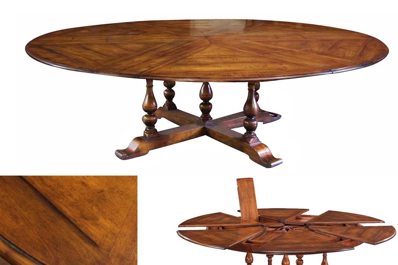 Extra Large Solid Walnut Expandable Round Dining Table With Self