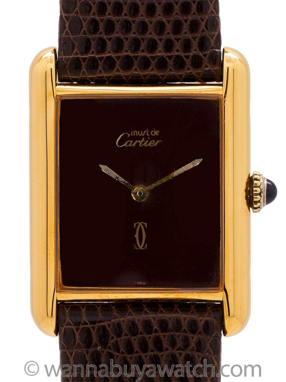 Cartier Lady S Tank Louis Burgundy Dial Circa 1980 S Burgundy Blue Cabochon Cartier Men