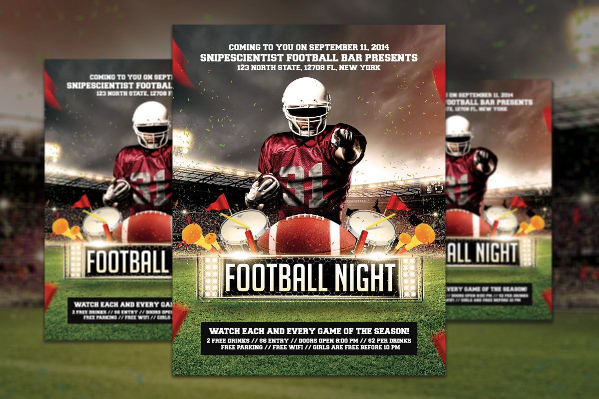 Fantasy football game flyer template fantasy football