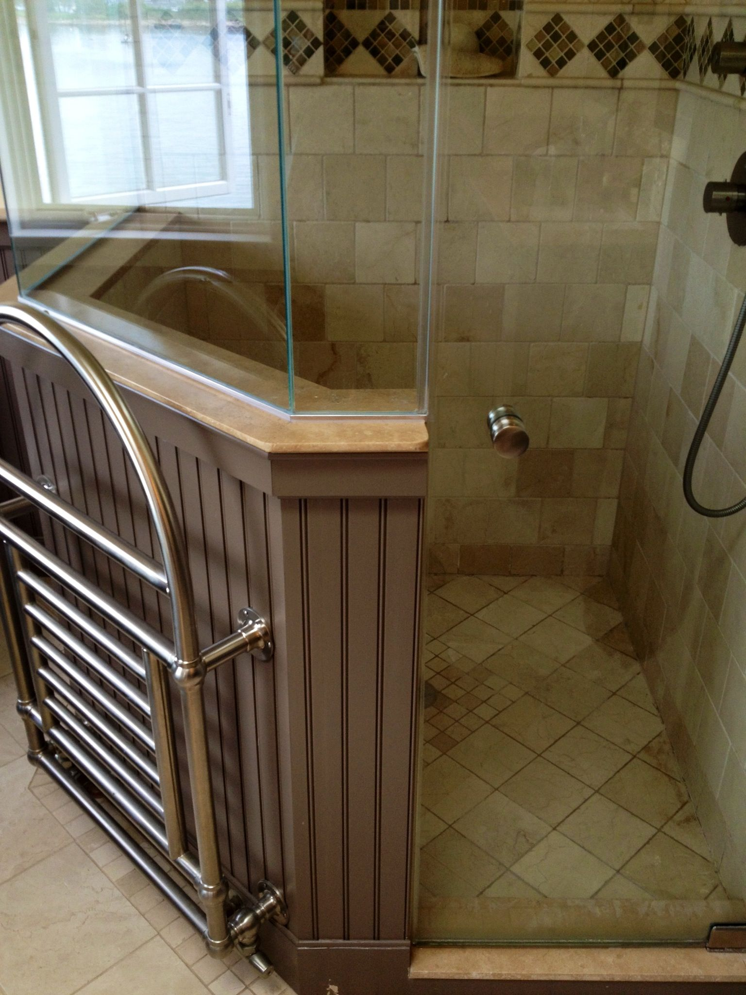 Corner Tiled Shower With Beadboard Half Wall Topped With Glass