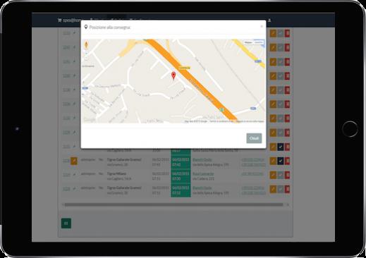visualizzazione luogo di consegna ordini consegne spesa a domicilio