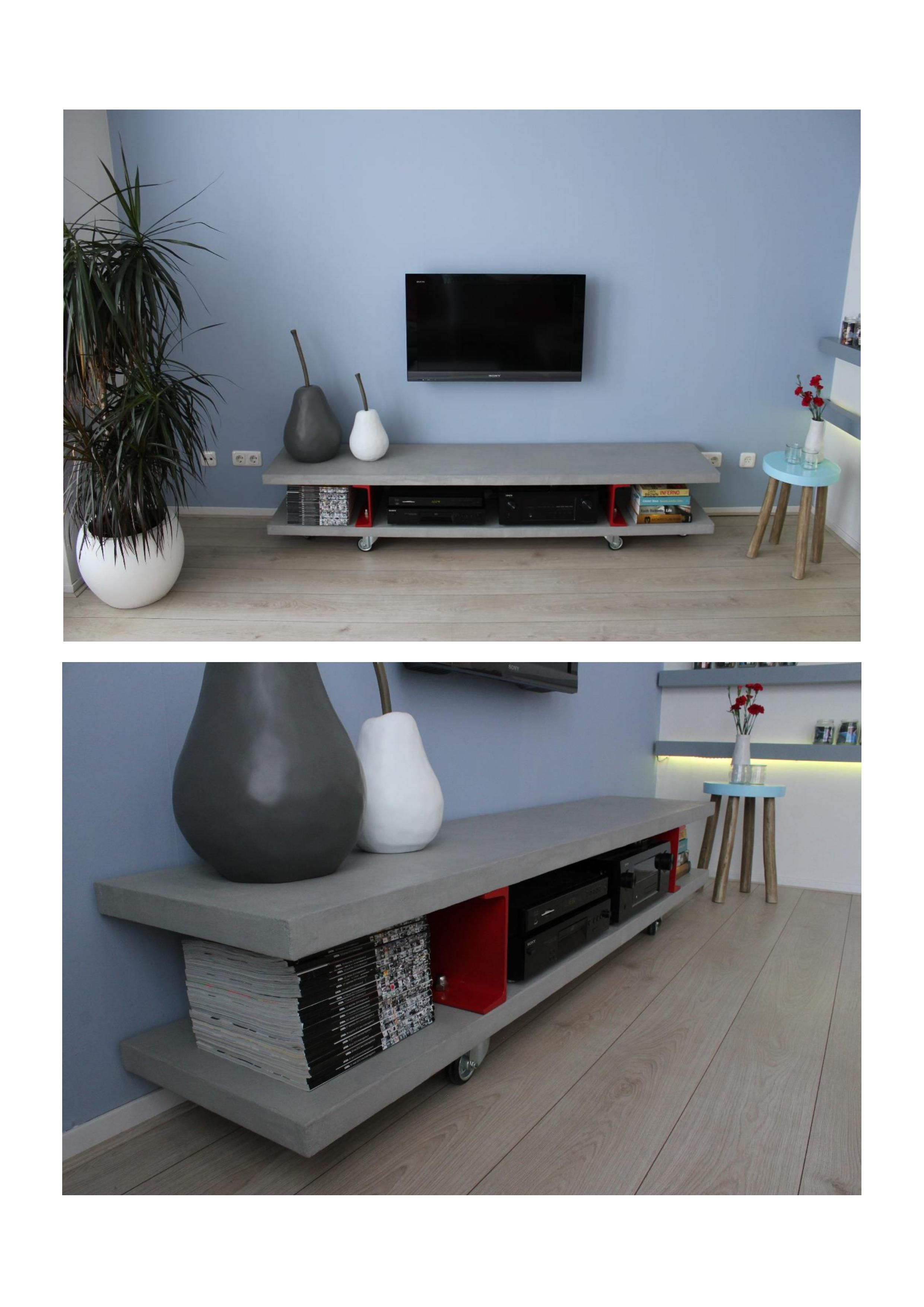 tv stand made out of wood finished with a layer of concrete