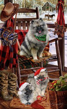 Keeshond - Christmas Companions - by Margaret Sweeney