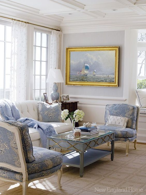 A Dose Of Blue And White To Start Your Week French Country Living Room French Country Decorating Living Room Country Living Room Design