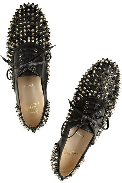 61f0541cd630 Christian Louboutin Freddy spiked leather brogues with black silver and  gold spikes  1145