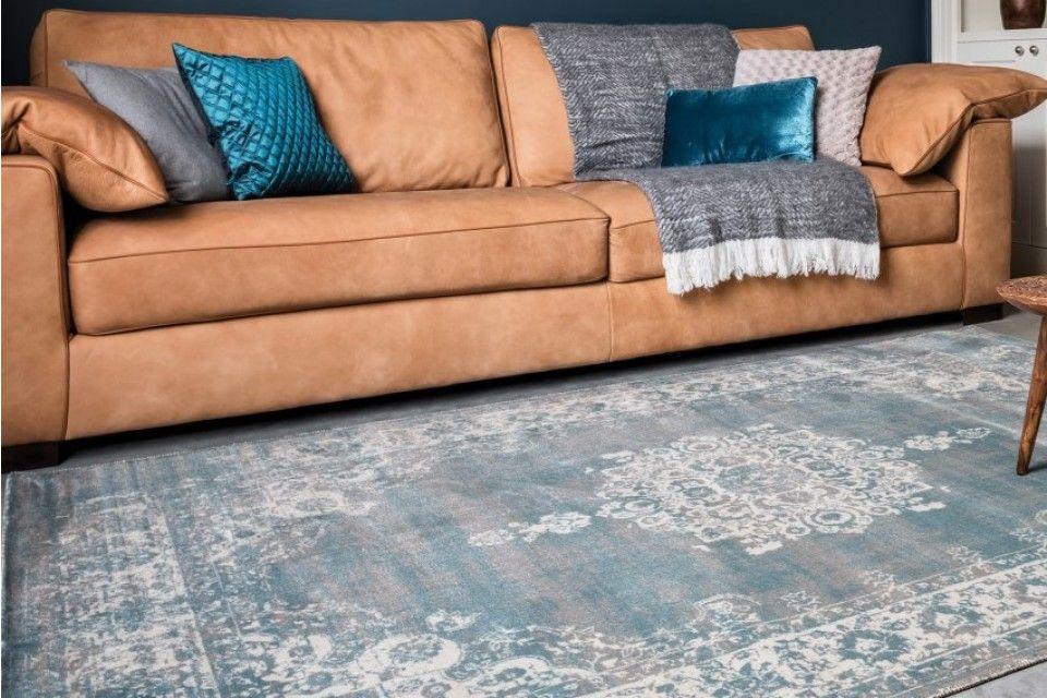 kelim vloerkleed medaillon vintage stoer grijs blauw woonkamer ...