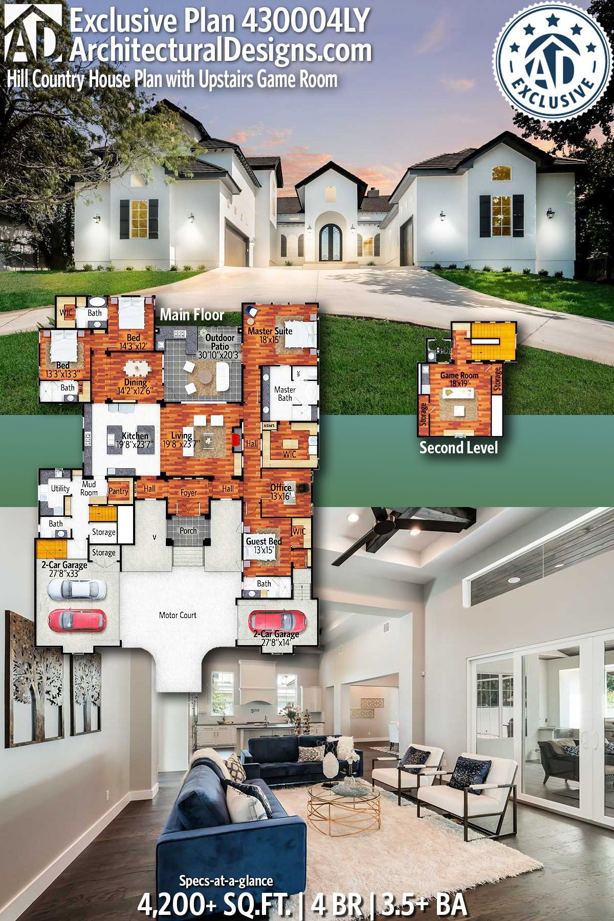 Architectural Designs Exclusive Hill Country House Plan Has A Courtyard Entry And An Upstairs Game Room Over 4 Country House Plan Courtyard Entry House Plans