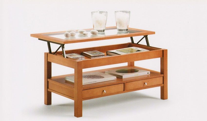 Mesa de centro tapa cristal elevable con cajones ref - Mesas salon elevables ...