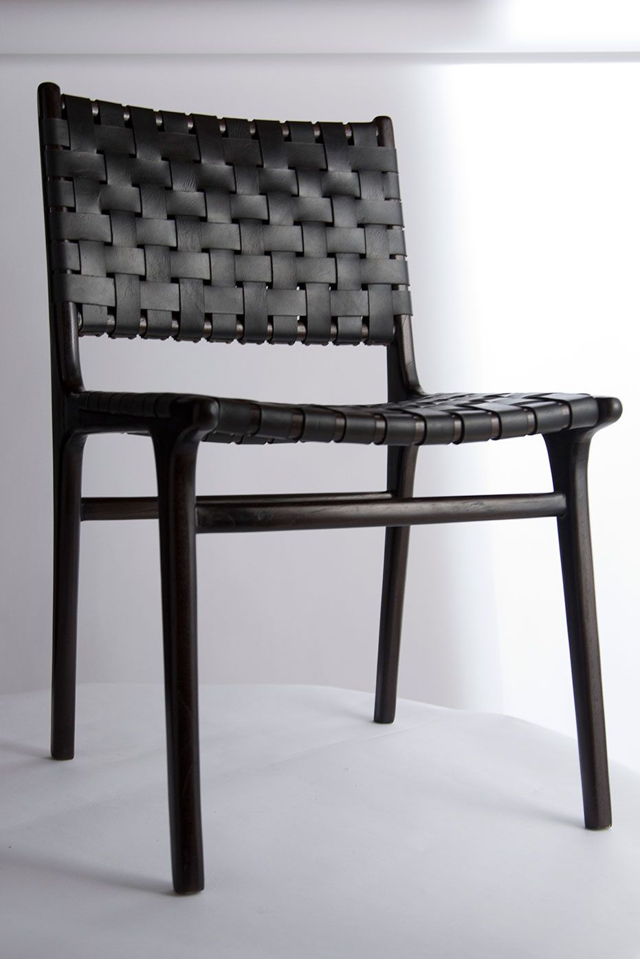Black Leather Dining Chairs Modern Chair Series Double Backed Leather Woven Chair M0001 In