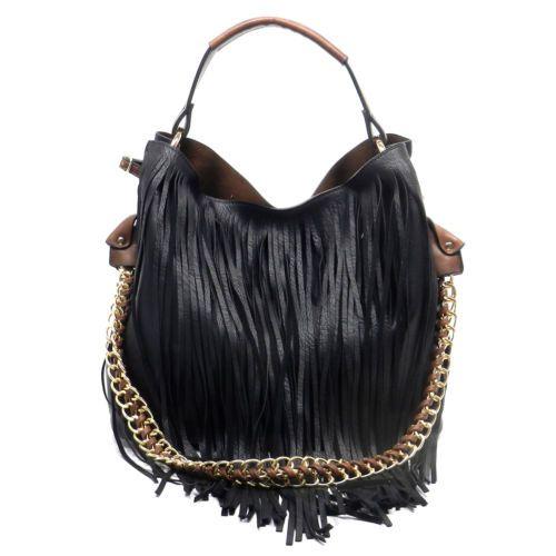d2c477ef25b6 Handbag-Republic-2-Strap-Fringe-Hobo-w-Removable-Interior-Pouch-Black