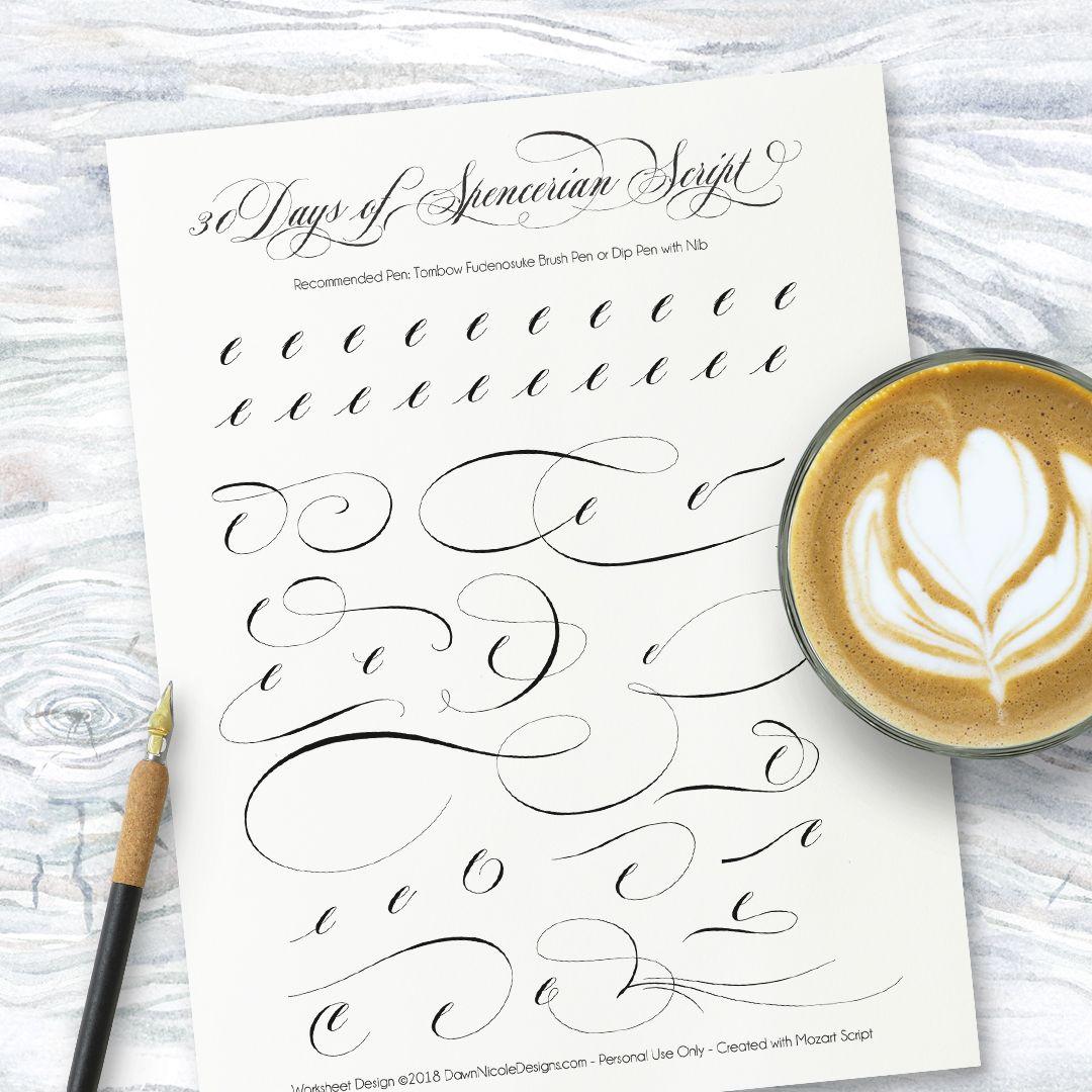 Spencerian Script Style Letter E Worksheets